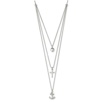 Sterling Silver Polished CZ Heart/Cross/Anchor Multi-Strand 16in Necklace QG4404