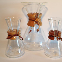 Vintage CHEMEX Coffee Maker Vessel Pyrex Brand Glass 1 Pint Individual Chemist Coffee Maker