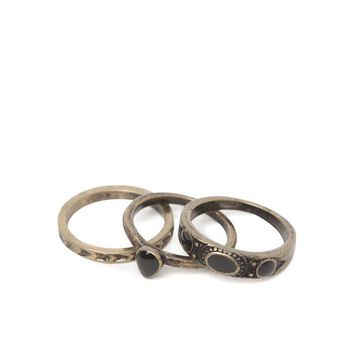 With Love From CA Black Stone Midi Ring Pack - Womens Jewelry - Gold - One