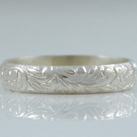 Silver Wedding Band - Wedding Ring in Sterling Silver for Men or Women  - Floral Wedding Band Anniversary Band - Made in your size