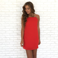Falling for You Shift Dress in Red