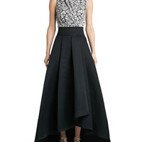 Graphic Lace Sleeveless Wrap Shell & Duchesse Origami Ruffle Gown Skirt