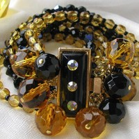 Outstanding CUFF Bracelet   BLACK And AMBER by katstreasureshop