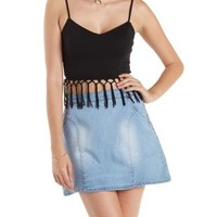 Black Knotted Fringe Crop Top by Charlotte Russe