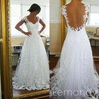 dream cap sleeves princess tulle with lace applique wedding gown