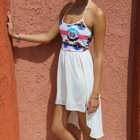 Forever in the Flow Aztec High Low Dress- White