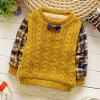 2015 Winter baby clothes o-neck bow tie full sleeve with plaid baby boys sweater thickening warm  A101