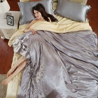 Luxurious Snow purpl Jacquard Bedding Sets Smoked Silk Duvet Cover Quilt cover bed sheet  Many Twin Queen size King
