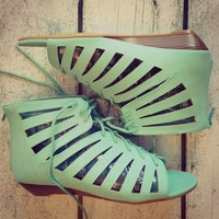 MINT Gladiator Sandals Fashion Summer Ankle Bootie Lace Teal Strappy Shoes Aqua