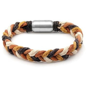 Men's Multi Colored 8.25 Inch Leather Braided Bracelet with Magnetic Stainless Steel Clasp