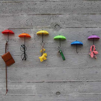 2016 new 3Pcs Colorful Umbrella Wall Hook Key Hair Pin Holder Organizer Decorative Brand New Umbrella Wall Hooks CHIRSMAS