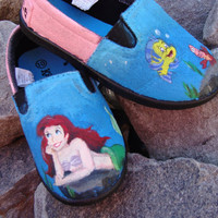 The Little Mermaid hand-painted children's canvas shoes