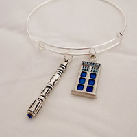 Police Box Sonic Screwdriver Charm Bracelet. Fandom Bracelet. Adult Size Expandable Bangle. Silver Tone.