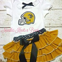 Girls New Orleans Saints Cheerleader Outfit, Baby Girls Coming Home Outfit, Football Outfit, Tailgating