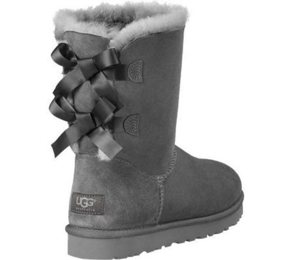 Image of UGG:: bow leather boots boots in tube Grey