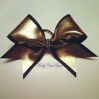 Black and Metallic Gold Cheer Bow with Rhinestone Center
