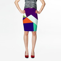 Geometric Print Fitted Pencil Skirt