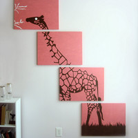 Giraffe Paintings Pink Brown White Safari Scene  18 by rickycolson