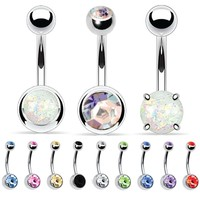BodyJ4You 12 Pieces Belly Button Ring Classic Created-Opal Piercing Jewelry Set