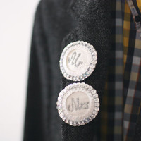 Mr and Mrs Wedding Brooch, Newlyweds Pins Wife Husband, White Silver Sequins, Felt Embroidered Jewelry for couple,