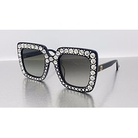 GUCCI women tide brand black rhinestone sunglasses F