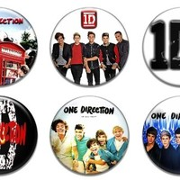"""6 New One Direction 1.25"""" Pinback Button Badge Pin Set One"""