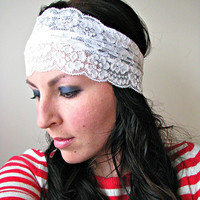 Boho Stretch Lace Headwrap, Wide Stretchy Headband, Winter White, Gift for her
