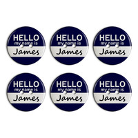 James Hello My Name Is Plastic Resin Button Set of 6