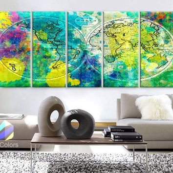 """XLARGE 30""""x 70"""" 5 Panels 30""""x14"""" Ea Art Canvas Print World Map Watercolor green yellow Old Vintage Wall Decor Home Office (framed 1.5"""" Depth)"""