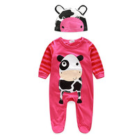 Newborn Baby Boy Girl Clothes Cute Animal Rompers One Pieces Baby Romper Infant Boys Girls Long Sleeve Jumpsuit With Hat IMY66