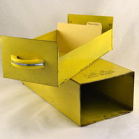 Yellow Recipe File Box w/ Slide Out Drawer - American Home Menu Maker - Retro  Chrome and Yellow Plastic Handle - Industrial