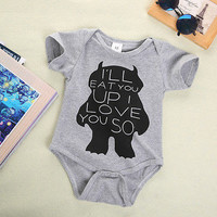 2016 Fashion New Baby Girls Boy Monster Organic Romper Bodysuit Cute Cartoon Outfits Clothing 3M 6M 9M 12M