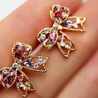 Sparkly Bow Colorful Rhinestone Earrings | LilyFair Jewelry