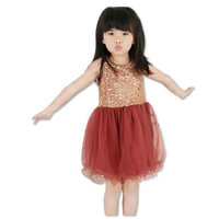 Fashion Girls Tutu Sundress Summer Sleeveless Sequin Princess Tulle Dress Dresses Play Girl Children Cloth Pink/Green/Red.