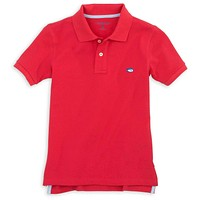Boy's Skipjack Polo in Channel Marker Red by Southern Tide