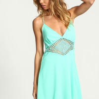 MINT CROCHET STRAPPY SLIP DRESS