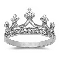 Oxford Diamond Co Sterling Silver Round Cubic Zirconia Crown Princess Tiara Ring Sizes 412 Three Colors Available