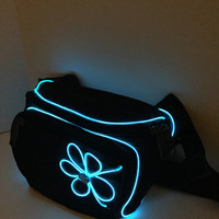 Blue EL wire with flower festival fanny pack