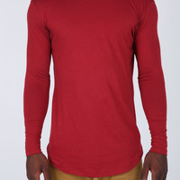 The Costa Zipper Long Sleeve Long Tee in Maroon