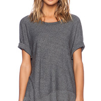 Wilt Heather Jersey Slanted Mixed Dolman in Charcoal