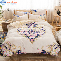 boho/bohemia queen size duvet cover bedsheet pillowcases 4pc bedding sets 100% Cotton beige color Bedlinen