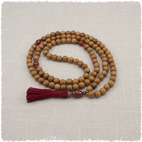 Robles Wood Mala with Carnelian - Creativity & Individuality - Mala Bead Necklace - Item # 997