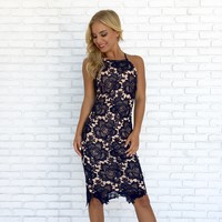 Carpe Diem Crochet Midi Dress in Navy Blue