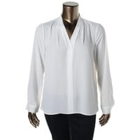 Vince Camuto Womens Long Sleeves Solid Pullover Top