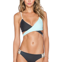 L*SPACE Chloe Block Reversible Wrap Bikini Top in Charcoal