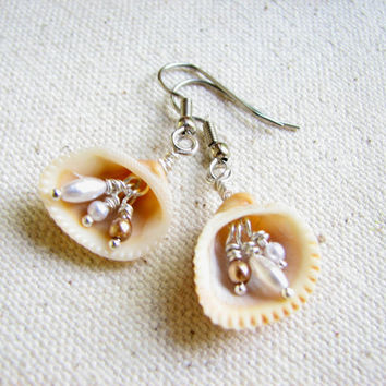 Shell Jewelry - Shell Earrings with Pearl Accent, Sea Shell Beach Wedding Jewelry, Dangle Clam shell Earring