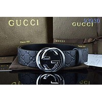 GG men's and women's double smooth buckle belt