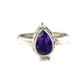 Amethyst Sterling Silver Poison Ring