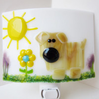 Dog night light, dog lover lamp, fused glass nightlight, wall light, nursery light, childs room decor, dog lover gift, yellow room decor