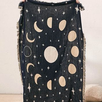 Calhoun & Co. Moon Phases Throw Blanket | Urban Outfitters